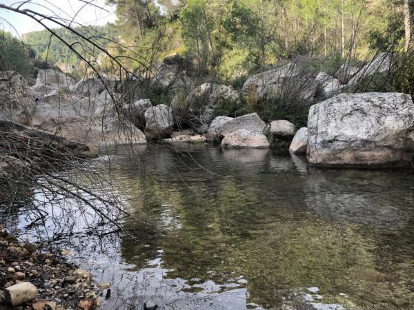 Toll del Molí de la Font Gran del riu Brugent amb nens